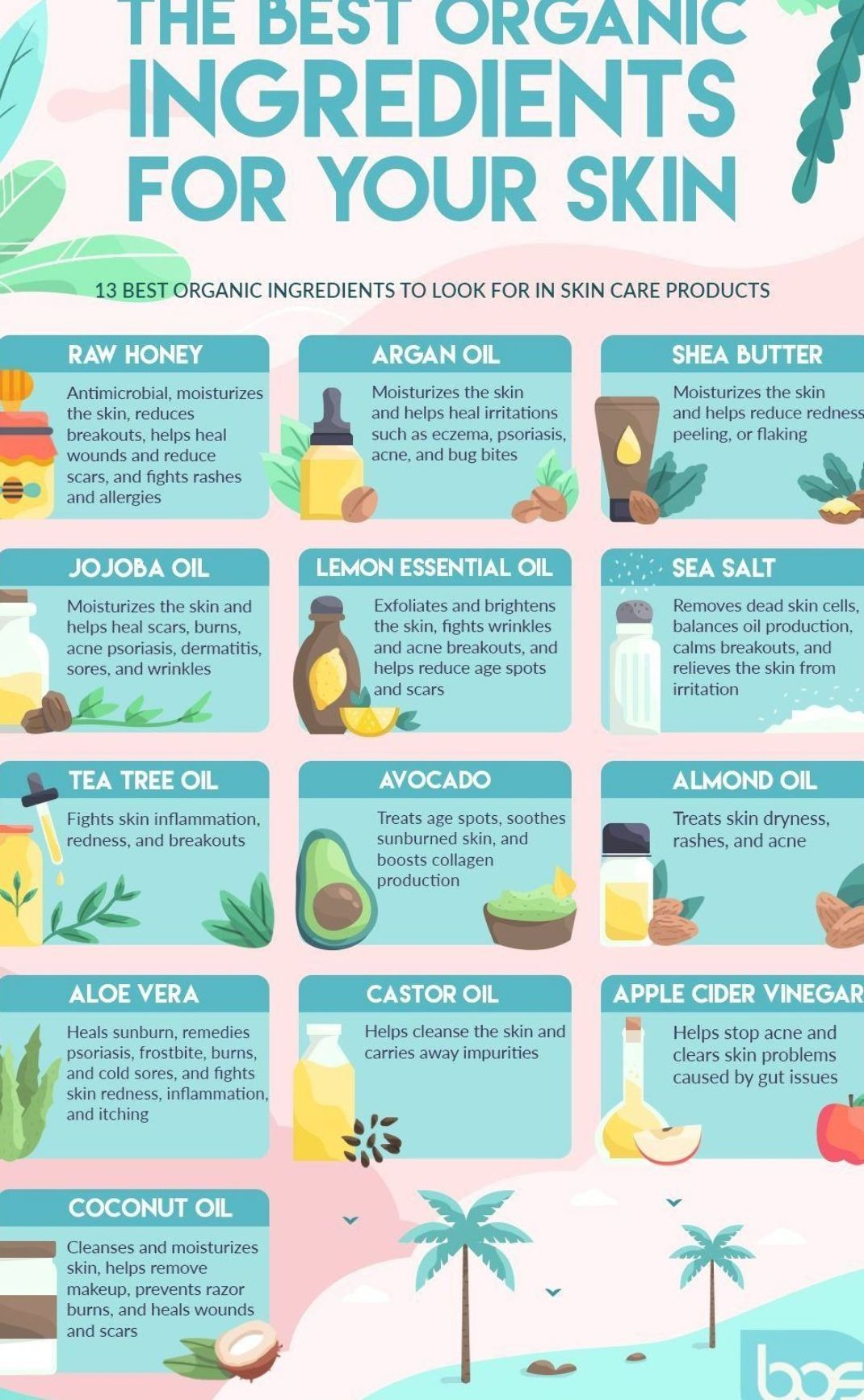 Infographic Skincare Products Best Organic Ingredients To Look For In Skin Care Products In 2020 Skin Care Organic Ingredients Argan Oil And Shea Butter