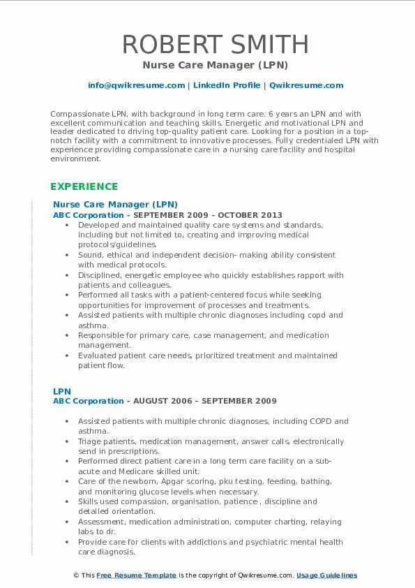 Lpn Resume Template Free Fresh Lpn Resume Samples In 2020