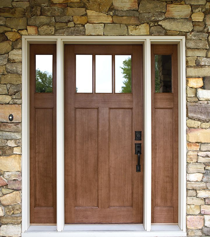 Exterior doors craftsman style fir textured fiberglass for Front door styles