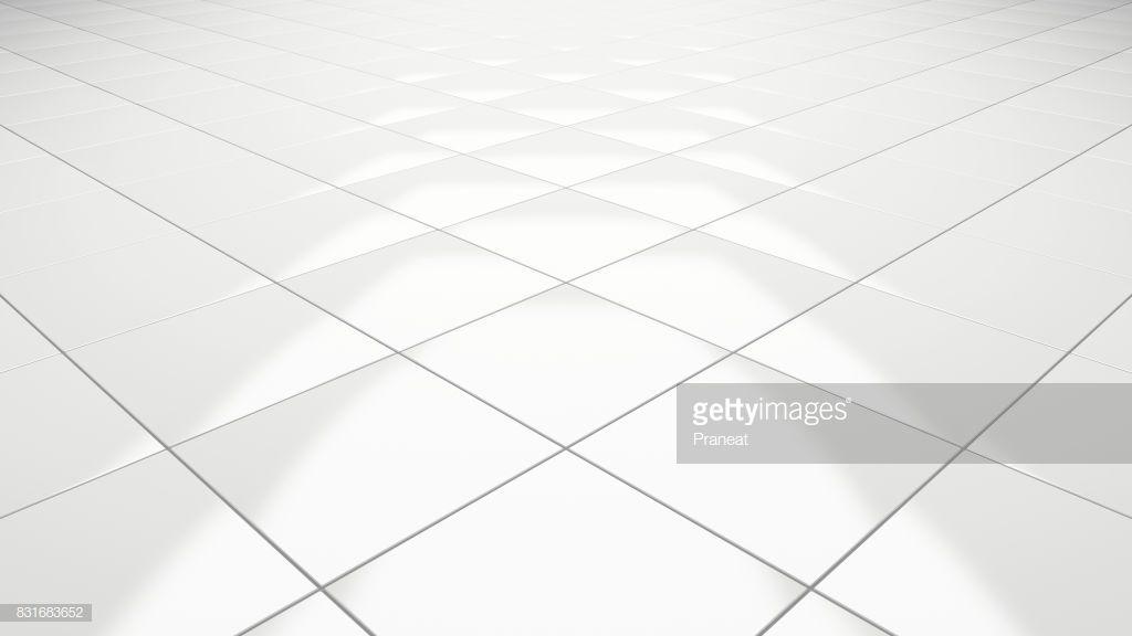 Clean White Tile Floor Rendering Perspective