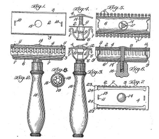 So If Your Wondering What De Razor Means The De Stands For Double Edge And Was Patented By King Camp Gillette In 190 Patent Drawing Gillette Razor Patent Art