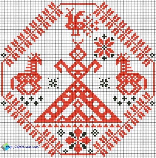 схема для вышивки, славянский оберег Лада