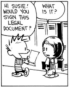 Calvin and Hobbes, Contract (1 of 4 DA) - Hi Susie! Would you sign this legal document? | What is it?
