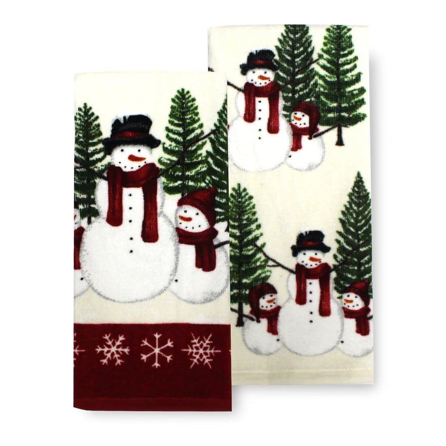 St Nicholas Square Yuletide Snowmen Kitchen Towel 2 Pk