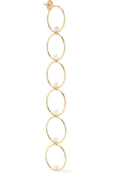 14-karat Gold, Diamond And Pearl Earring - one size Anissa Kermiche