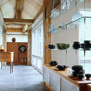 Dishware Storage Gl Shelves Suspended By Wires From The Ceiling Give Illusion That Pottery Is Floating In Midair Display Can Be Viewed