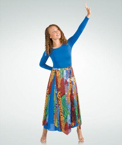 0dc6e1b85ceda 572BW Tribal Print Panel Praise Dance Skirt $18.00 Praise Dance Dresses,  Praise Dance Wear,
