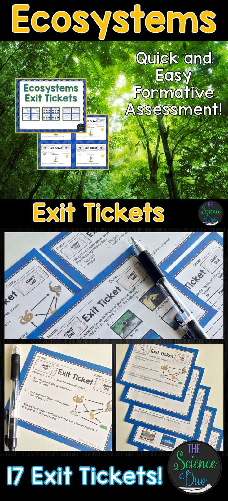 Ecosystems Exit Tickets (Exit Slips)