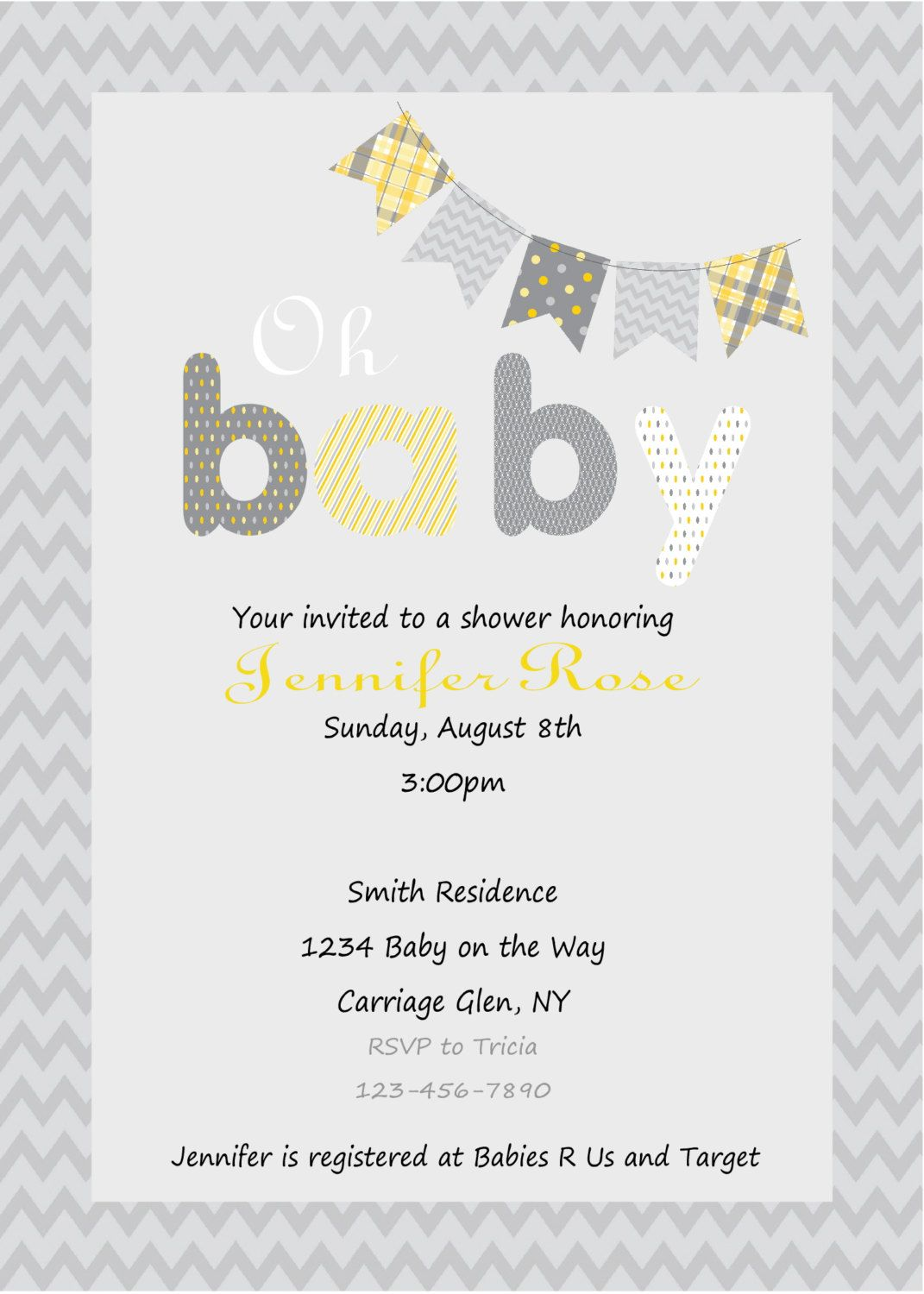 Yellow And Gray Baby Shower Invitation Print Your Own