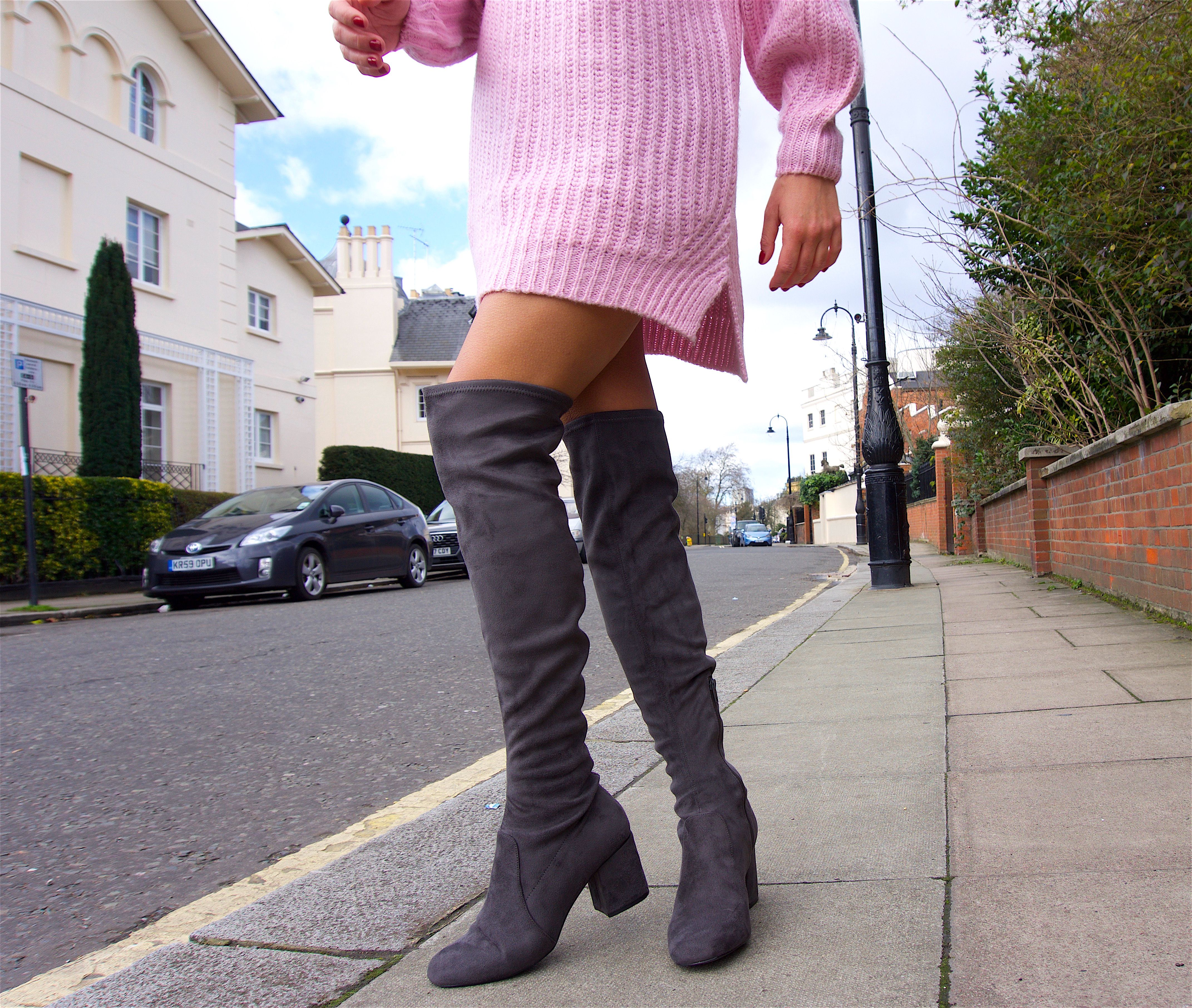 3b7b301bef8 Valeria is wearing a pair of grey faux suede over the knee boots ...