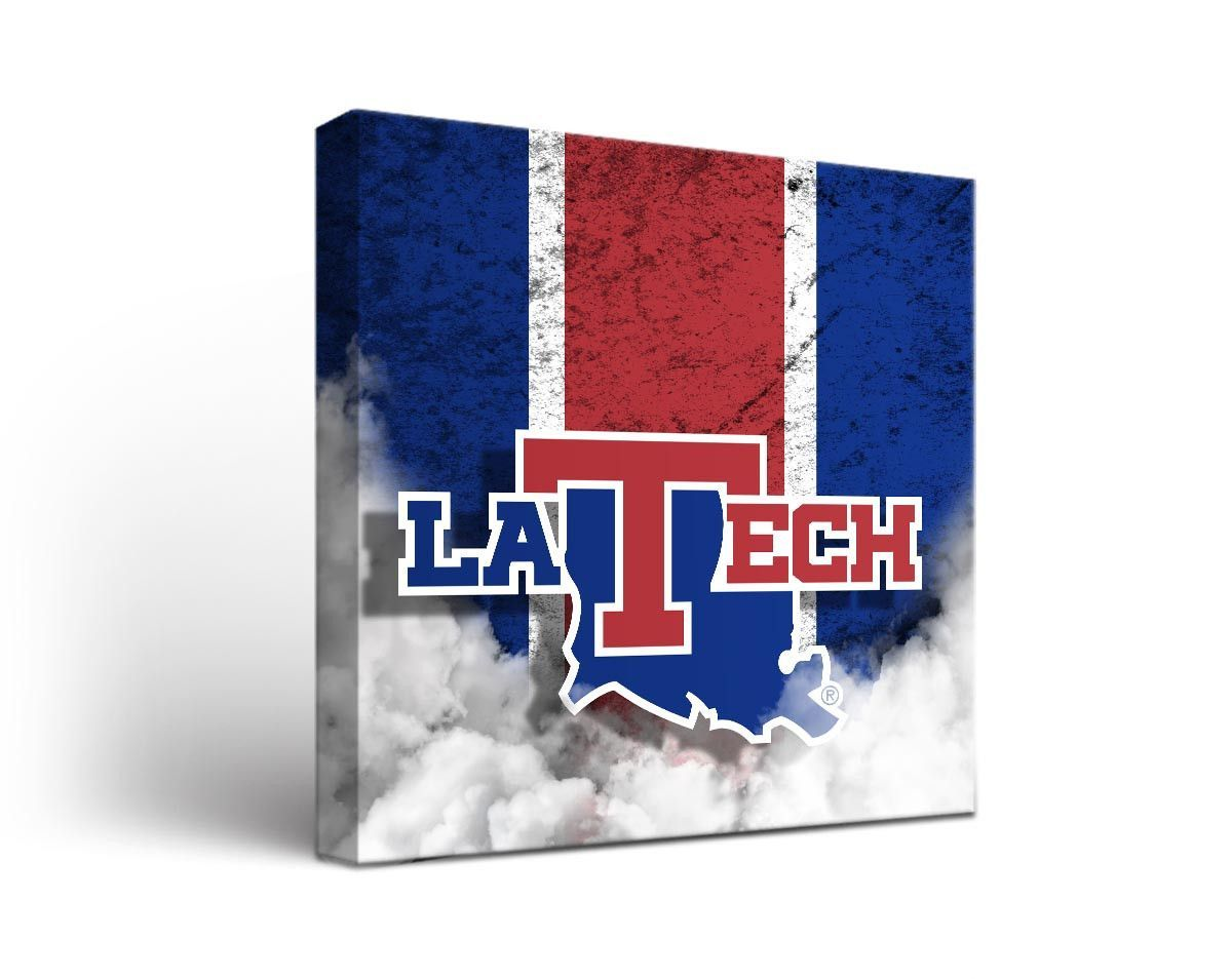 Louisiana Tech Bulldogs Vintage Canvas Print Square