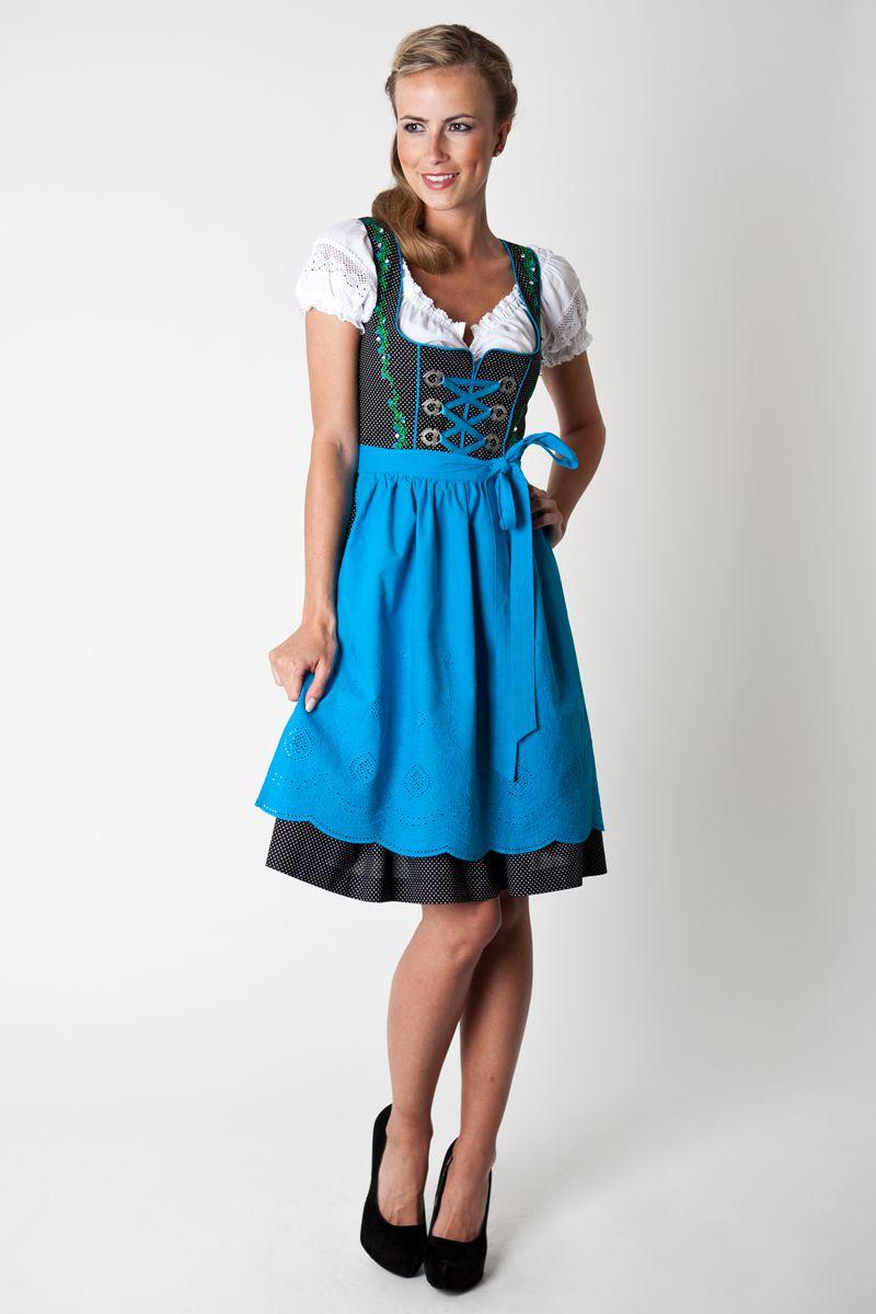 Trachten Dirndl Cora, black/turquoise | Dirndl dress, Dresses