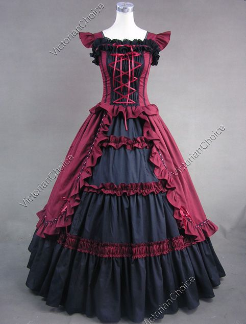 Victorian era dress colors for red