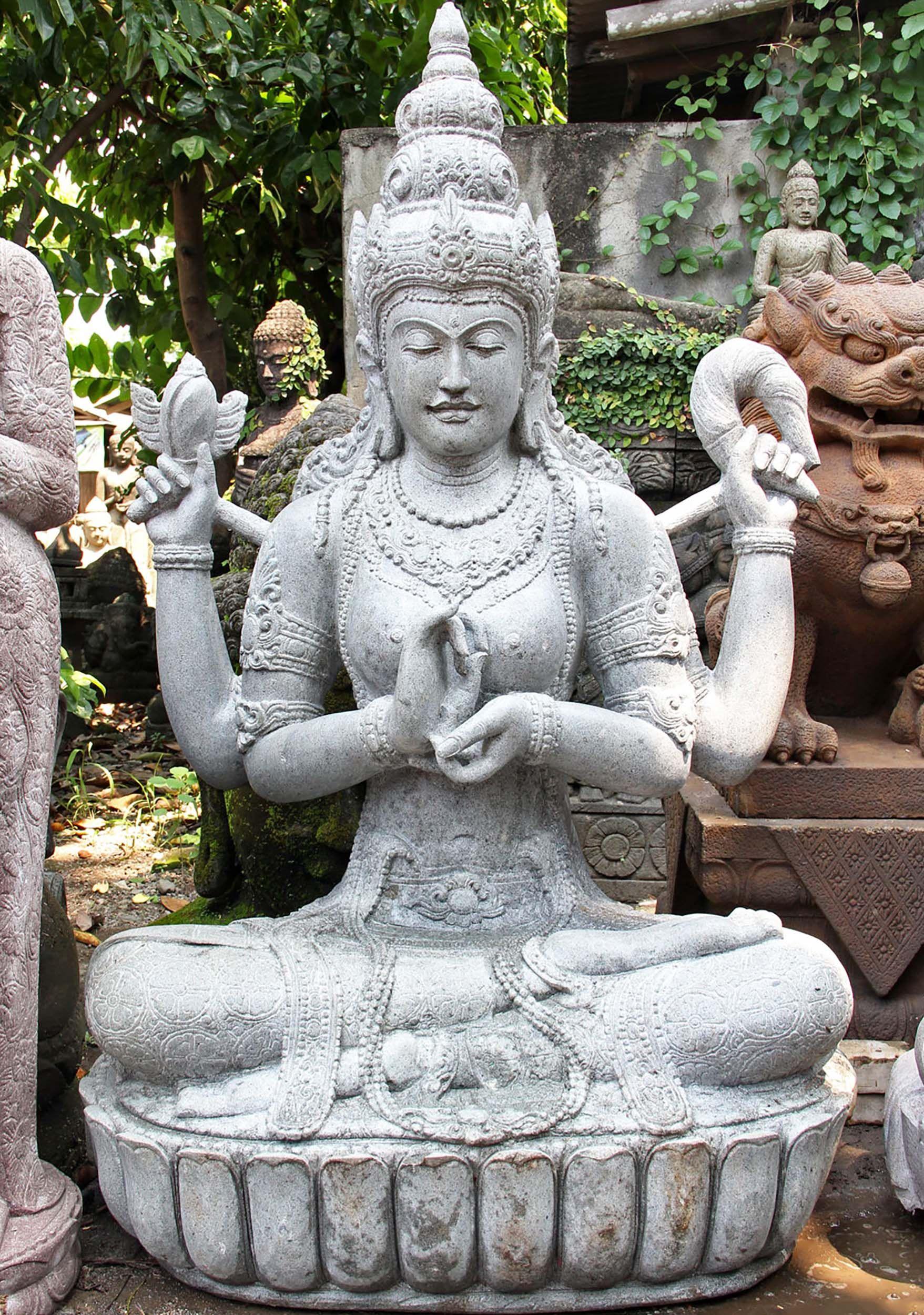 View the Stone Dharmachakra Lakshmi Garden Statue 61