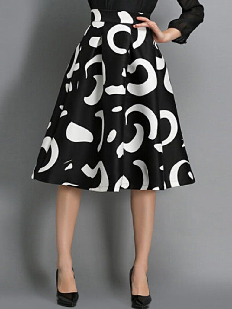 02c155f936 Black & White High Waist Floral Midi Skirt - shopfeverly.com #skirt #women  #fashion #summer #midi