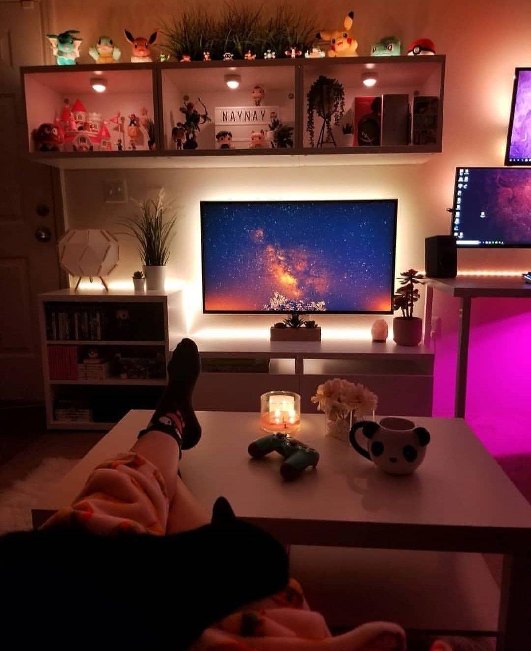 Home Decor Diy Gaming Setup Bedroom Small Spaces Home Decor Diy Gaming Setup Bedroom Small S Small Apartment Living Room Apartment Living Room Bedroom Setup