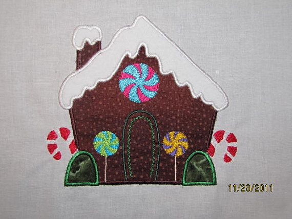 Gingerbread house applique t shirt by debsmartin58 on Etsy, $20.00
