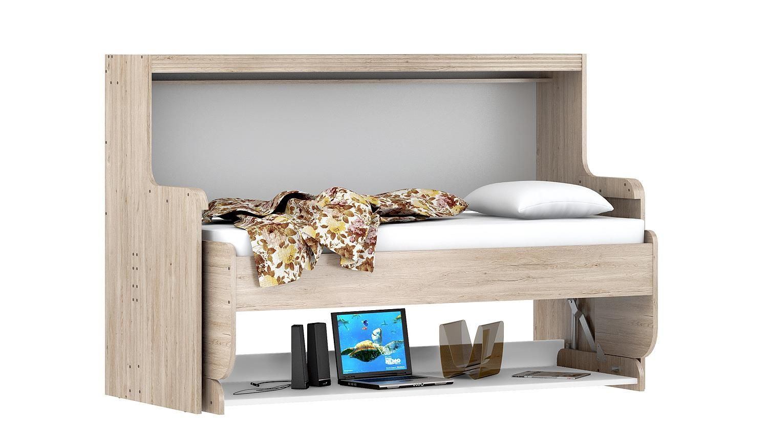 funktionsbett dakota klappbett schreibtisch eiche san remo wei 90x200 einrichtungsideen. Black Bedroom Furniture Sets. Home Design Ideas