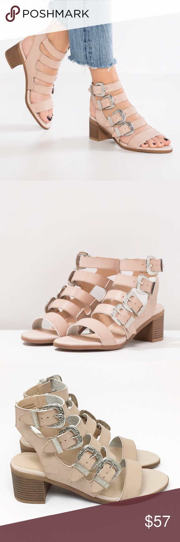 """68319e716eae Miss Selfridge Cadee Western Buckle Sandal Heels NWOB Size 7.5 (Can fit a  size 8) Color  Nude All Buckles can be Adjusted Silver Buckles Block Heel  (2.5"""") ..."""