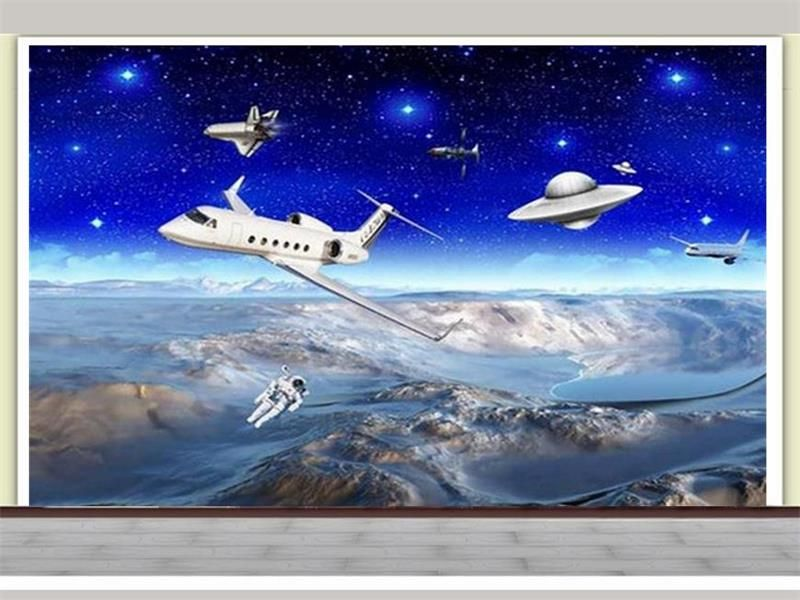 custom 3d photo wallpaper kids room mural Space Moon astronauts 3d photo painting TV background non-woven wallpaper for wall 3d #Affiliate