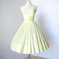 vintage 1950's dress ...pretty VICKY VAUGHN lemon meringue embroidered shelf-bust full skirt dress with semi-sheer peekaboo panel