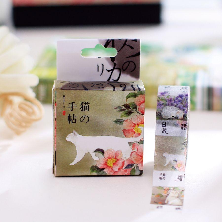 Scotch Decorative Masking Tape Mqstyle 1Box New Japanese Washi Masking Tape White Cat Scrapbook