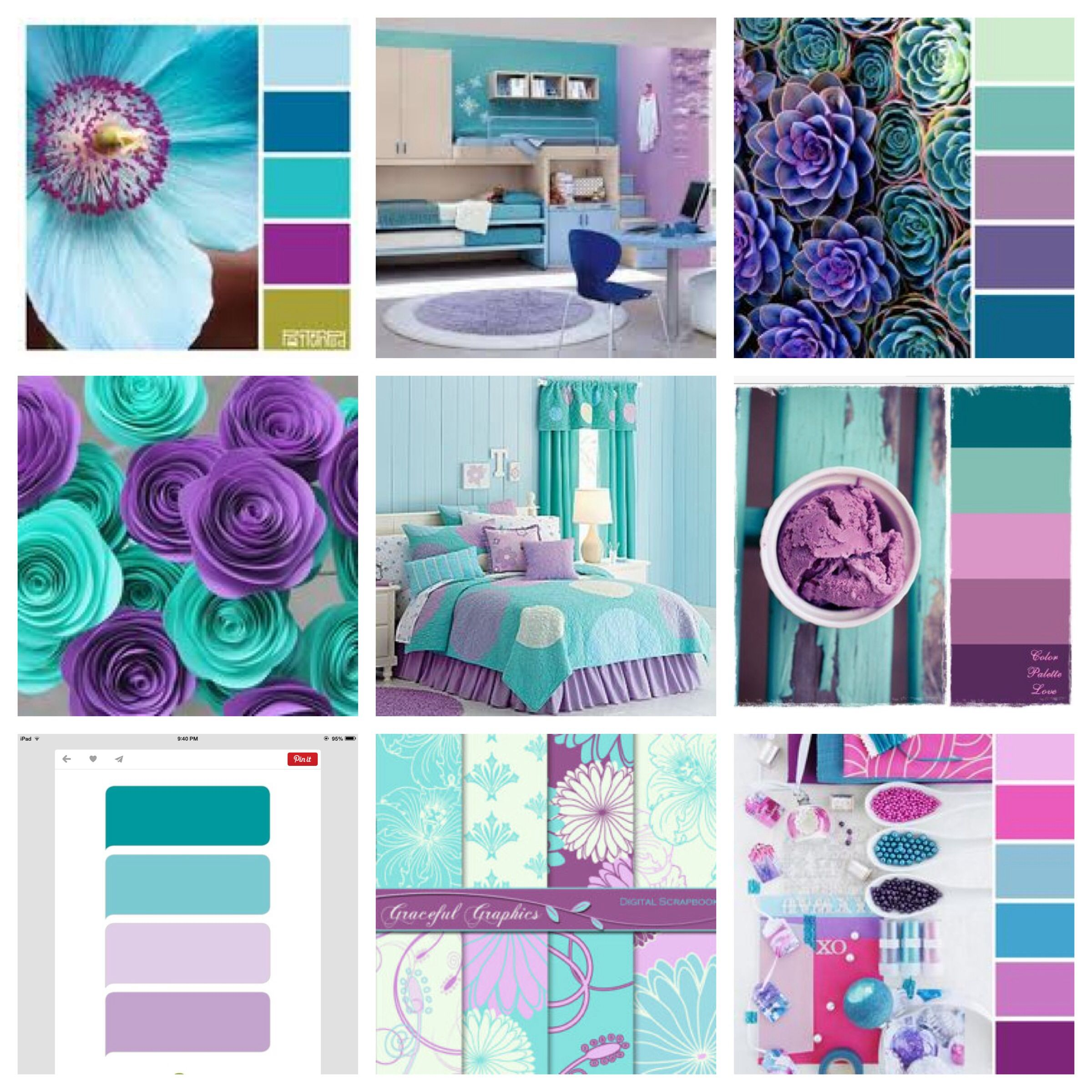 Girl S Room Colors Purple And Teal Turquoise Girls Room Colors Colorful Kids Room Girls Room Paint