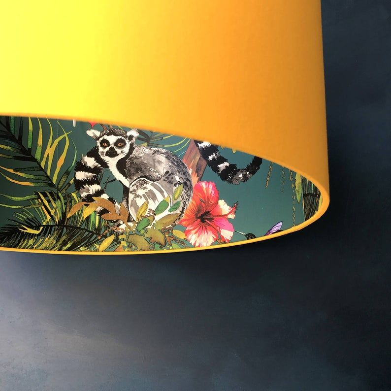 Teal Lemur Wallpaper Silhouette Lampshade With Egg Yolk Yellow Etsy Lampshades Quirky Decor Fabric Lampshade