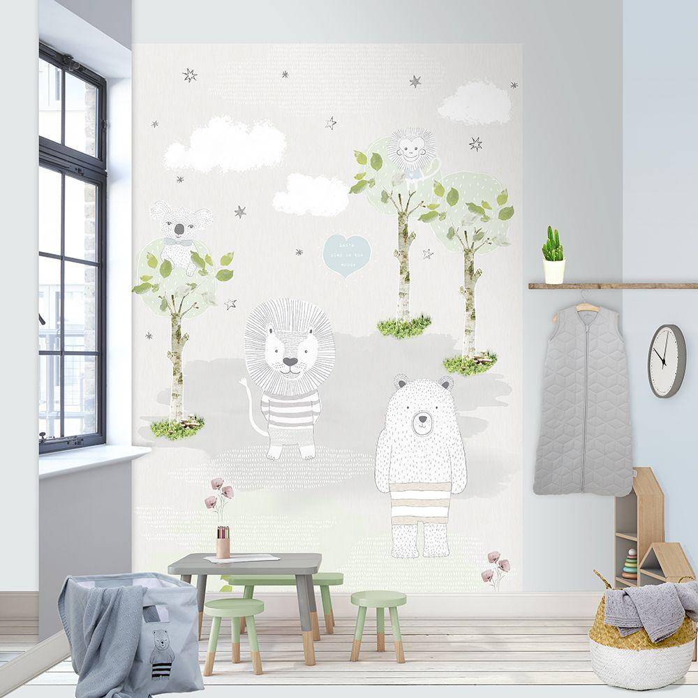 Kinderzimmer Fototapete 'Tierchen' hellgrau 200x300cm in