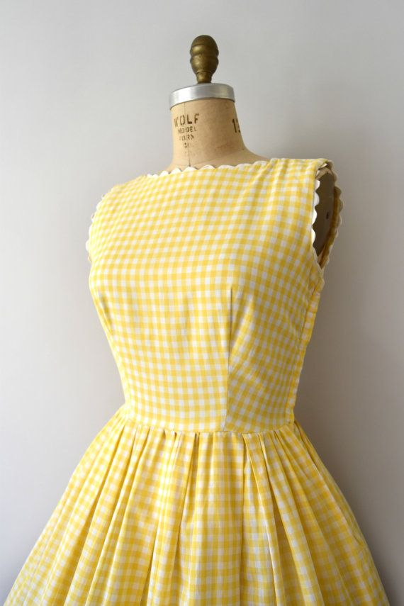 Vintage 1950s Dress - 50s LANZ Yellow Gingham Cotton Sundress ...