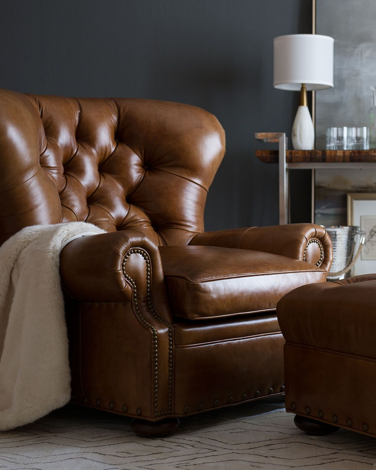 Lansbury tufted leather chair ottoman