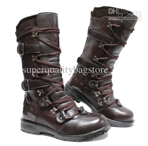 Cheap Fashion Men'S Leather Shoes Knee High Boots,Punk Lace Up ...