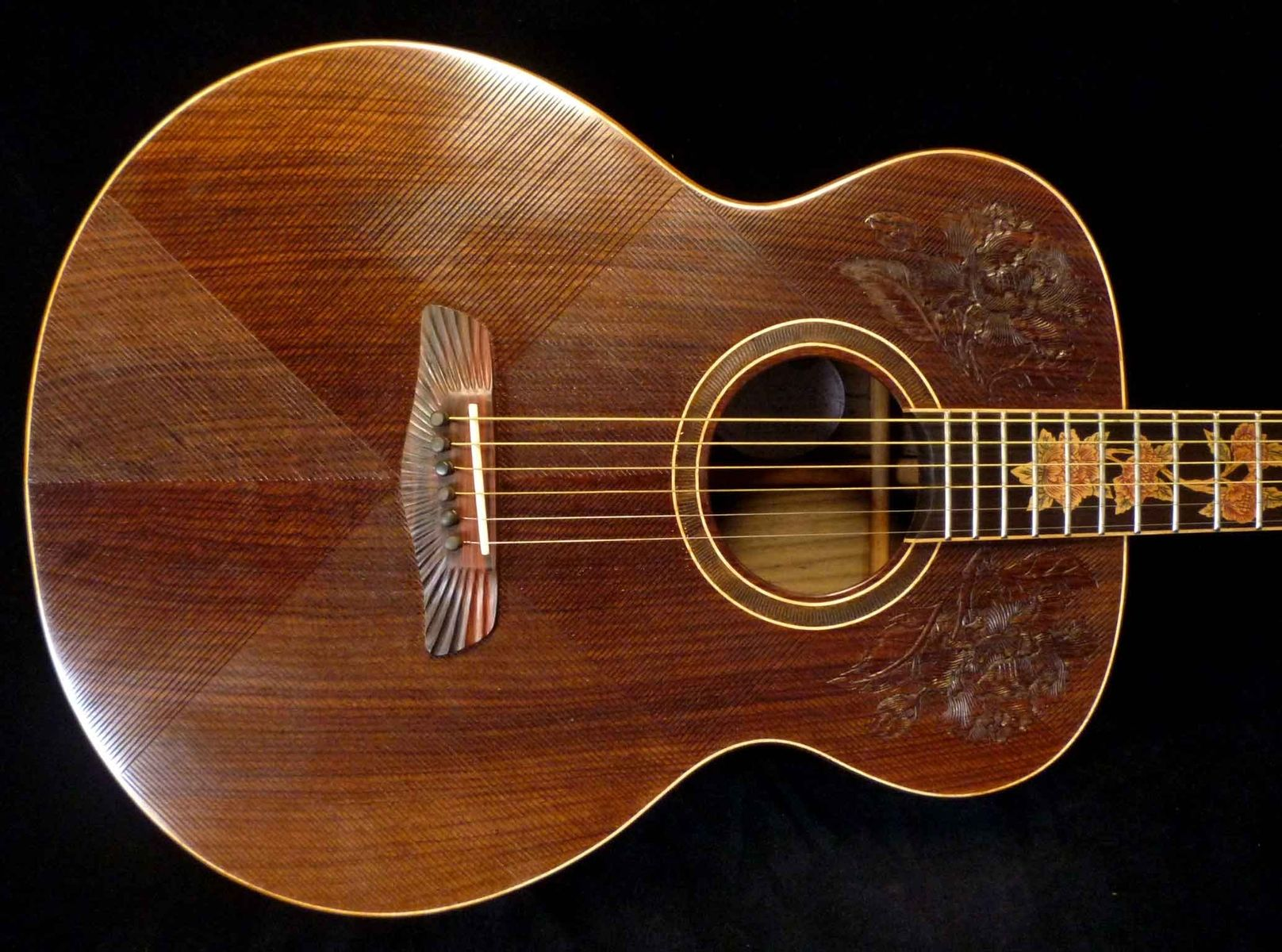 """Blueberry All-Rosewood """"Floral"""" Acoustic Jumbo Guitar"""