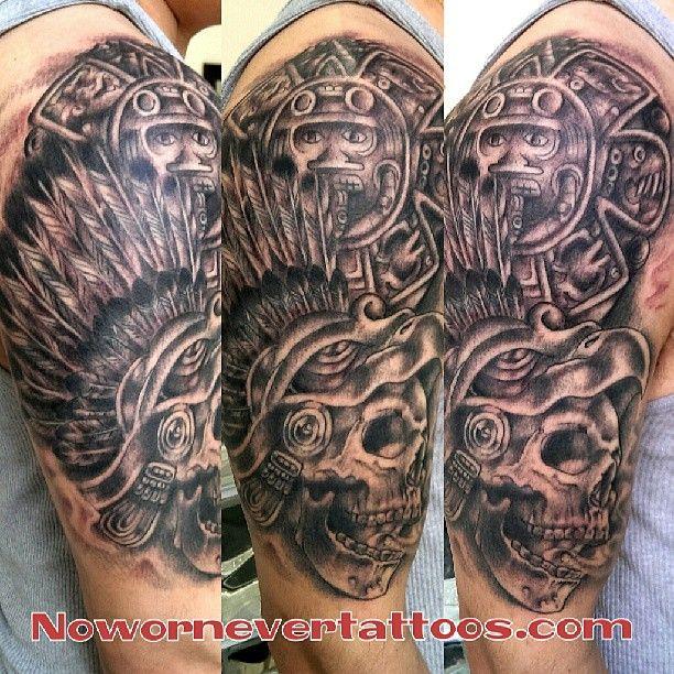 Aztec Skulls Tattoo Designs Pin pin aztec skull tattoo ... Aztec Calendar Sleeve Tattoos