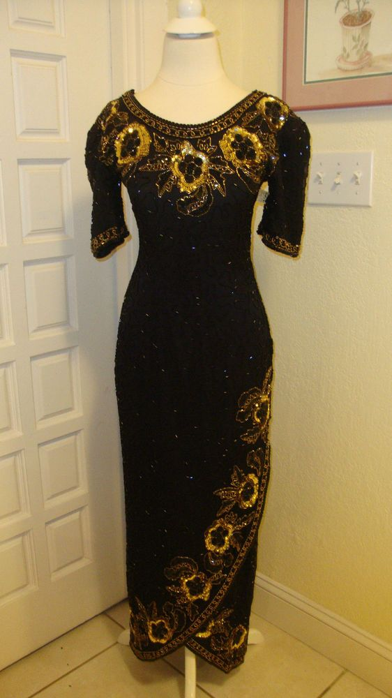 0e4623a52656d AMAZING LAURENCE KAZAR BLACK   GOLD SILK GLASS BEADED   SEQUINED EVENING  GOWN  LAWRENCEKAZAR  BallGown  Formal