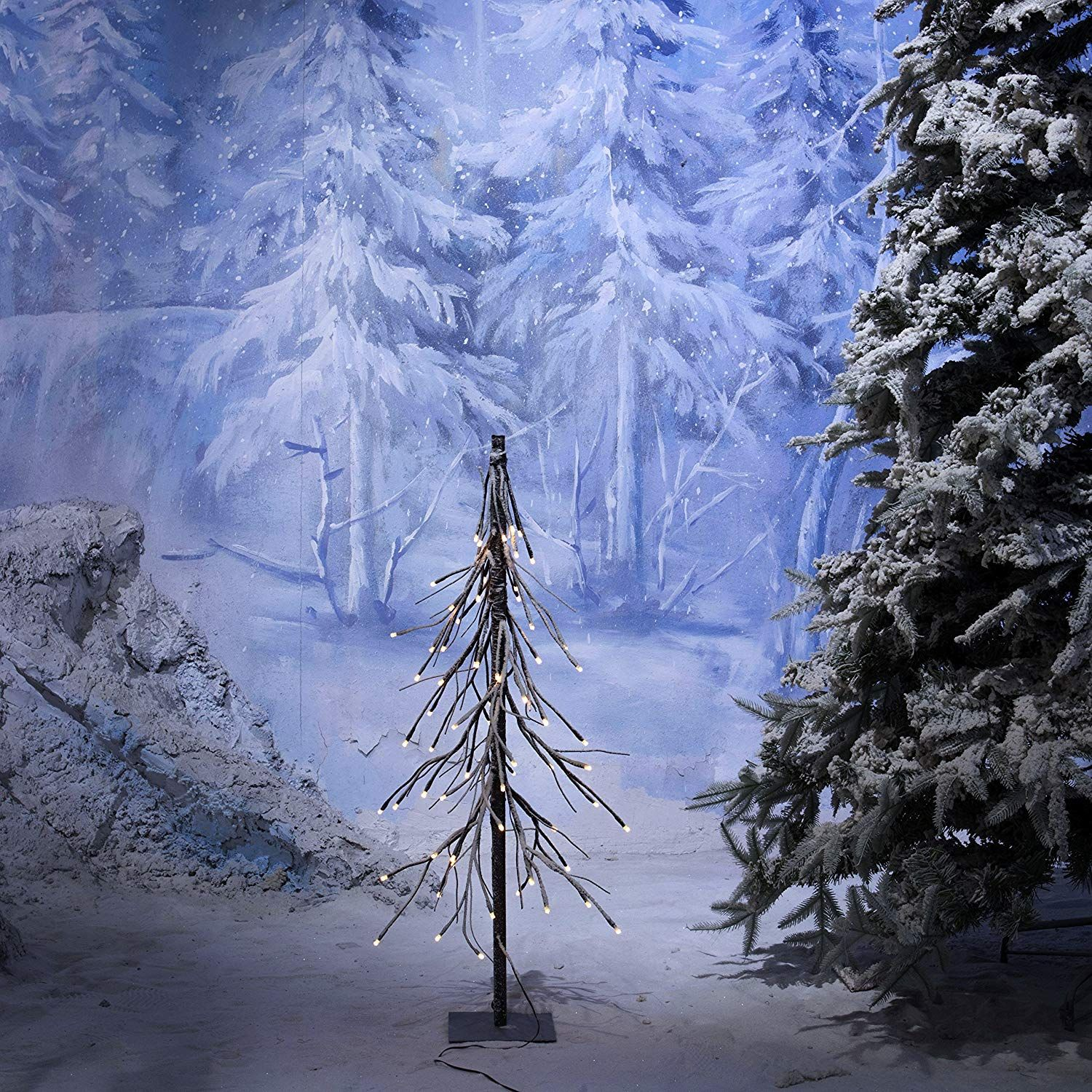19.99+YUNLIGHTS 5ft Snow Dusted Tree Lights 75 LED Light