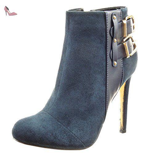 3440c07aaeef Sopily - Chaussure Mode Bottine stiletto low boots Cheville femmes clouté  lanière boucle Talon haut aiguille 11 CM - Bleu - WLD-11-628-101 T 41   Amazon.fr  ...