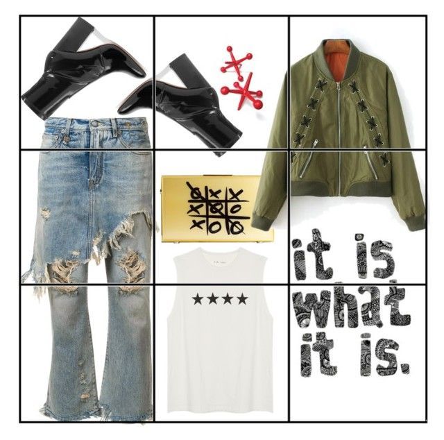 """""""Tic tac toe or jacks?"""" by obsessedaboutstyle ❤ liked on Polyvore featuring R13, Eshvi and Valentino"""