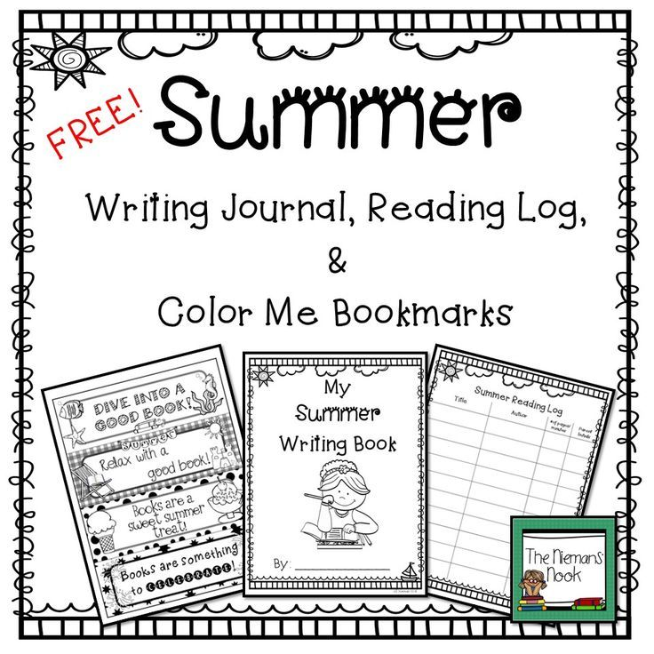 FREE Summer Writing Journal, Reading Log, & Bookmarks