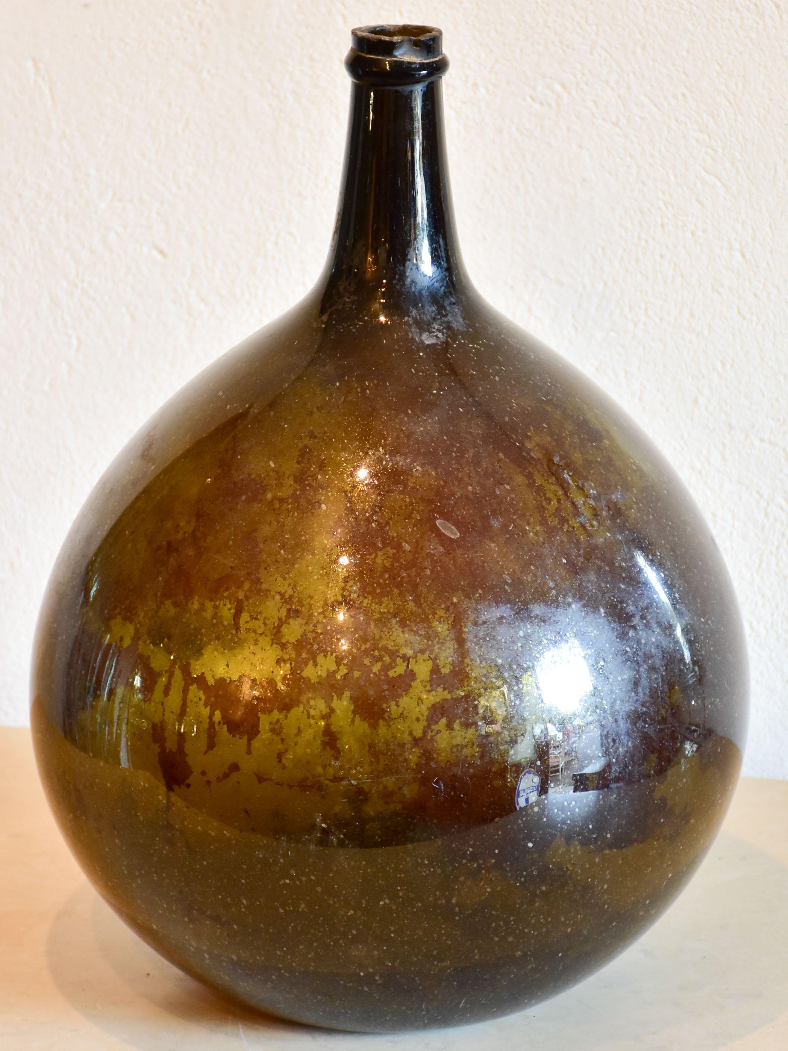 Antique Demijohn Bottle With Dark