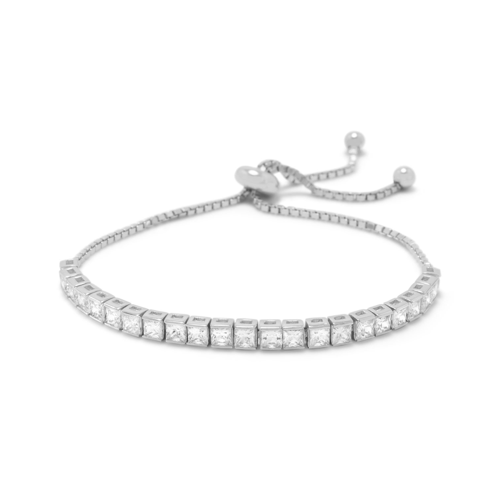 2mm CZ Push Spring Slider Clasp Adjusts to 9 inch Sterling Silver Snake Chain Bolo Bracelet