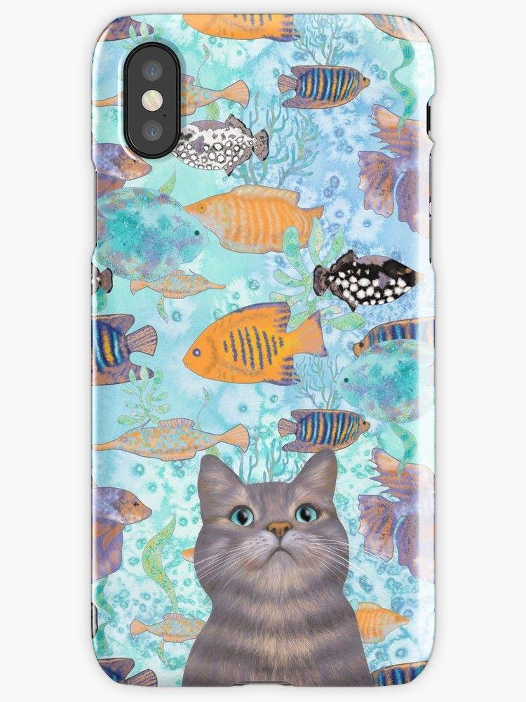 The Fish Thief Cute Cat Aqua Pattern Iphone Case By Andreea Dumez