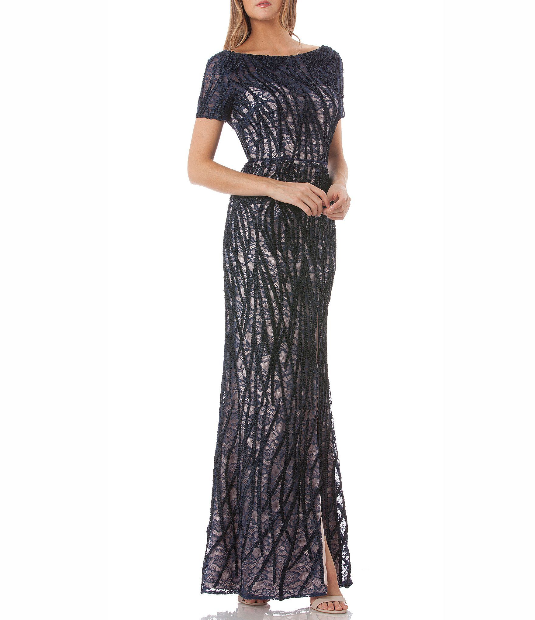 62132475819 JS Collections Illusion Embroidered Lace Gown  Dillards