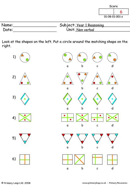 Primaryleap Co Uk Matching Shapes 1 Worksheet Primary