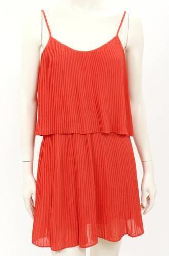 #Orange Parker Pleated Sleeveless Dress #ColoroftheWeek 8/26/2013