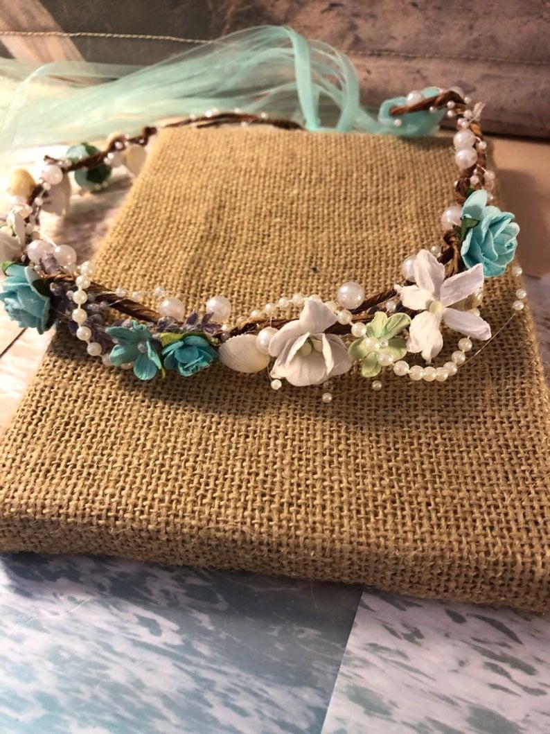 XO Bouquets Wedding  Mermaid Seashell Crown Tiara Headband Starfish