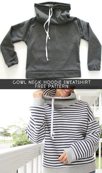 Women\'s Cowl Neck Sweatshirt Free Pattern | EASY Sewing Patterns ...