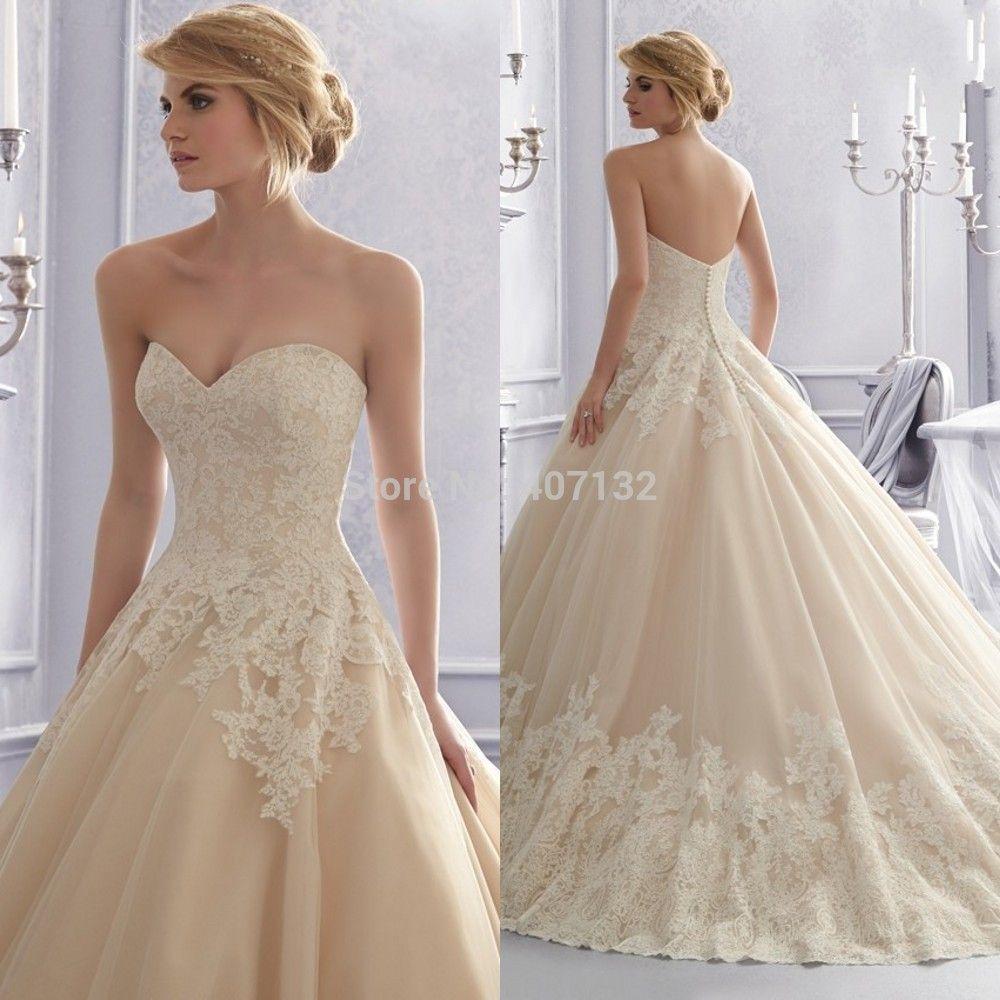 Lace wedding dress champagne  Champagne Lace Wedding Dresses  Wedding Gowns Champagne  Wedding
