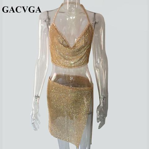 5365635085 GACVGA 2018 Crystal Sexy Crop Top Beach Fitness T Shirt Women Summer Tops  Metal Party Tank Top Bralette Cropped Feminino Blusa