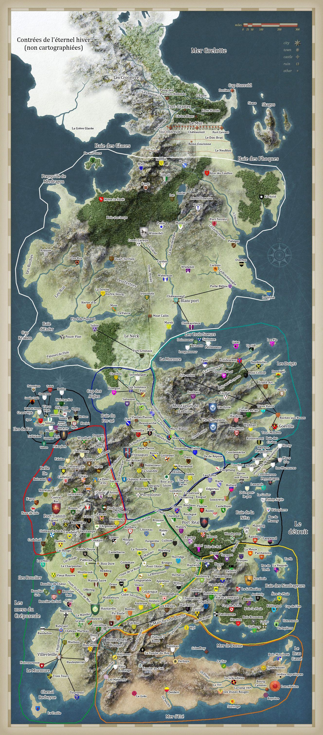 Carte Game Of Thrones 7 Royaumes : carte, thrones, royaumes, Carte, Couronnes, (games, Thrones)., Carte,, Géographie